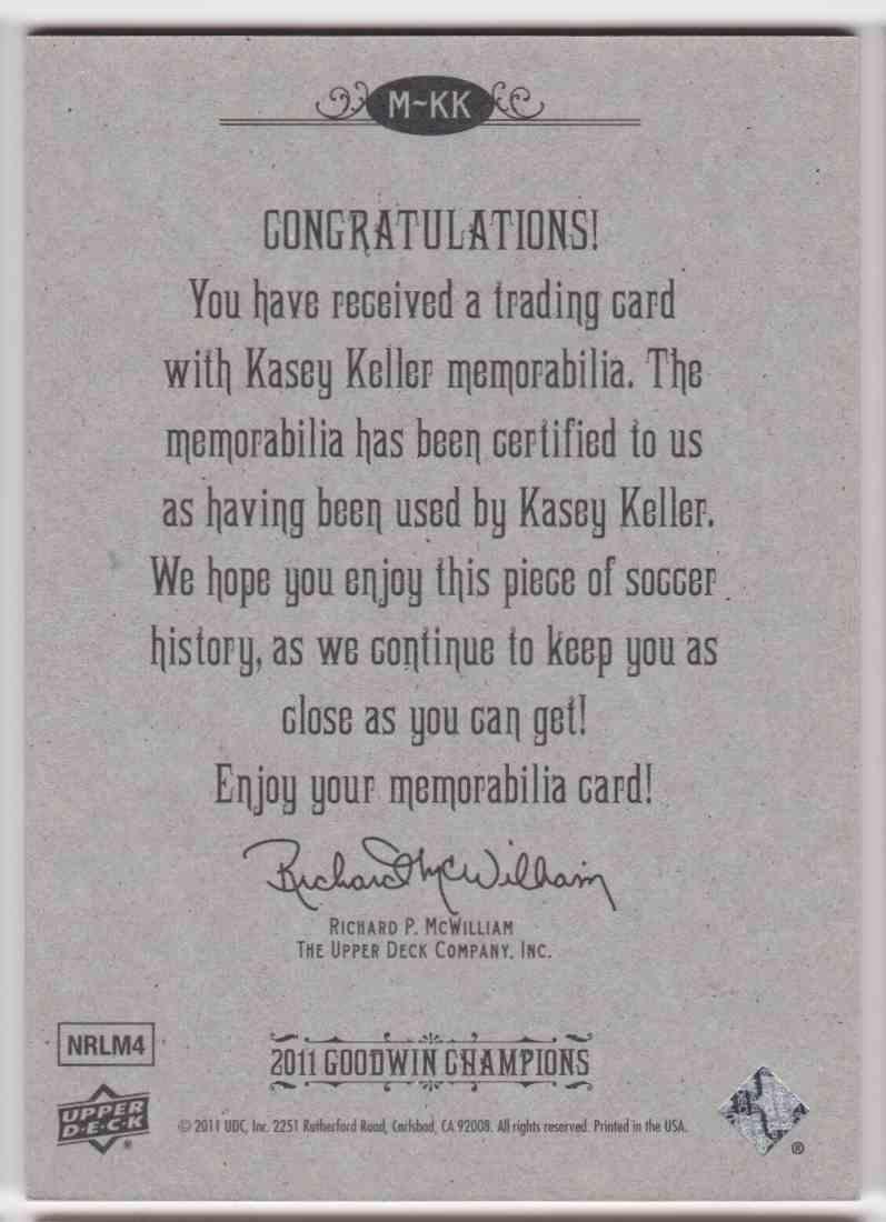 2011 UD Goodwin Champions Kasey Keller #M-KK card back image