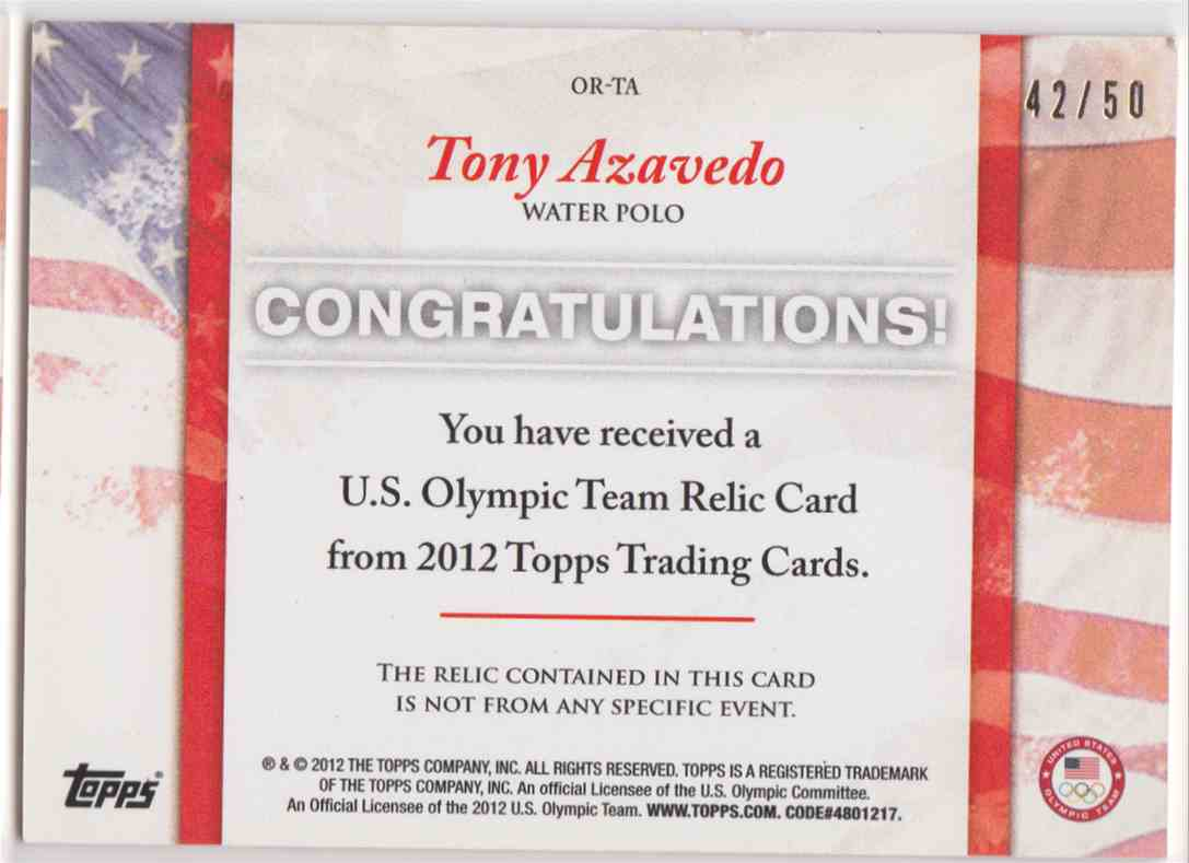 2012 Topps U.S. Olympic Team Relic 2 Color Tony Azavedo #OR-TA card back image