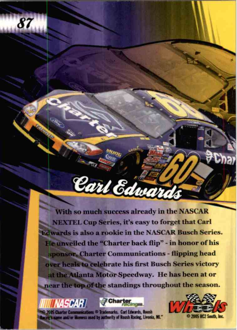 2005 Wheels American Thunder Rookie Thunder Carl Edwards #87 card back image