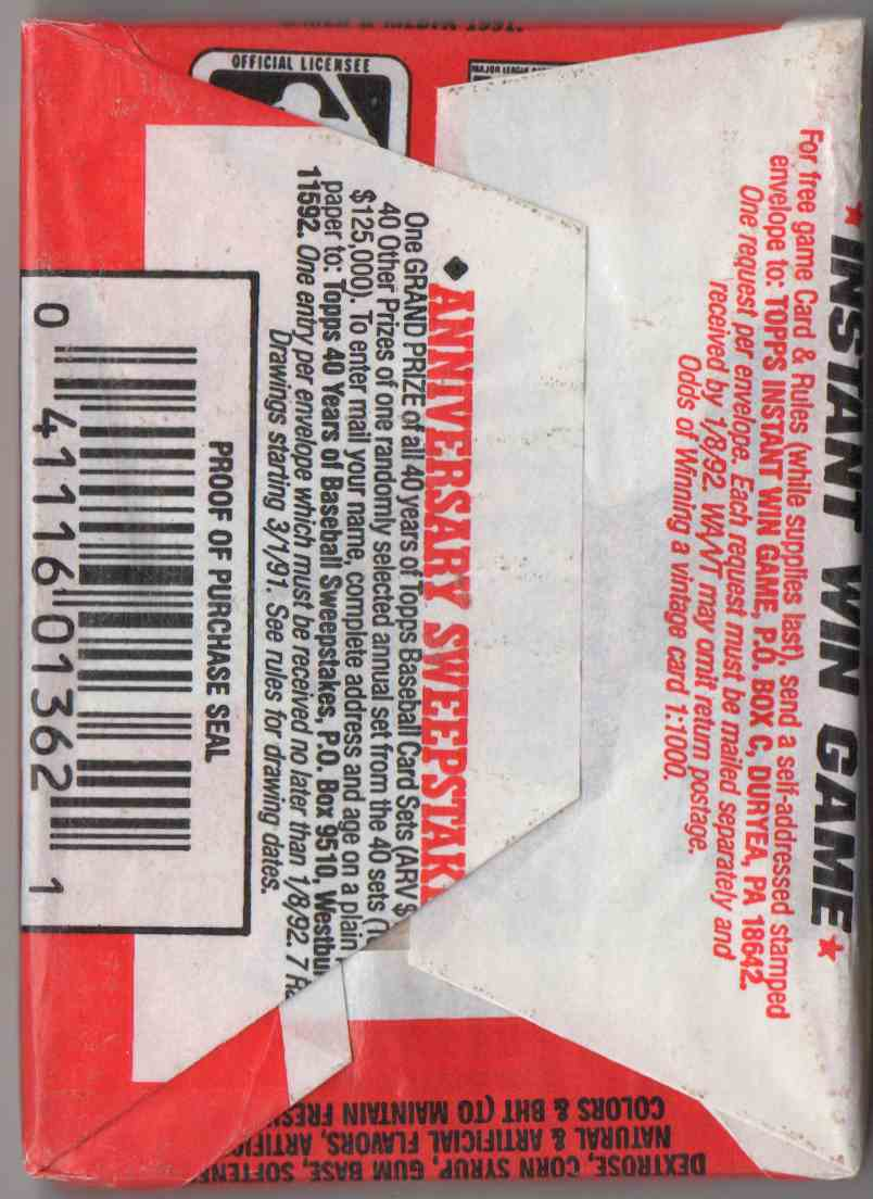 1991 Topps Unopened Pack #15 card back image