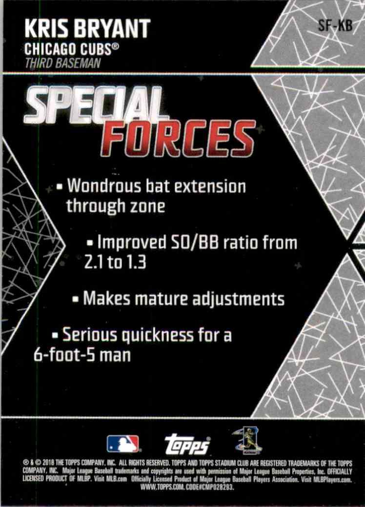 2018 Stadium Club Special Forces Kris Bryant #SFKB card back image