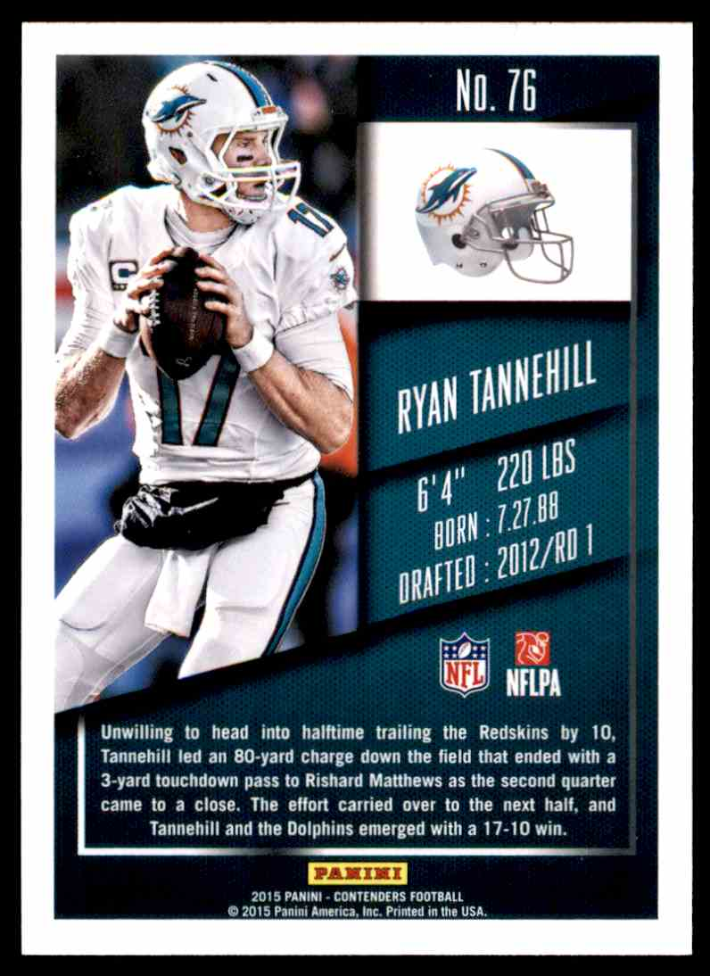 Team Set ! 2015 Panini Contenders Dolphins 3 Cards ! Ryan Tannehill !!