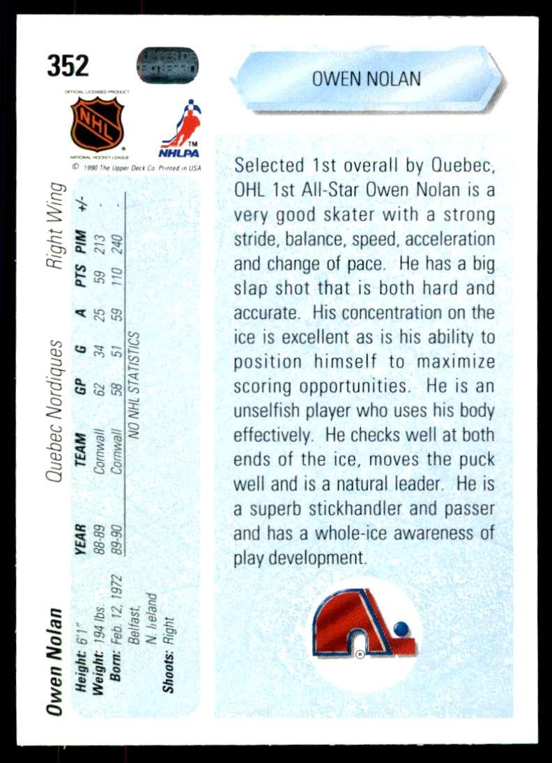 1990-91 UD Owen Nolan #352 card back image