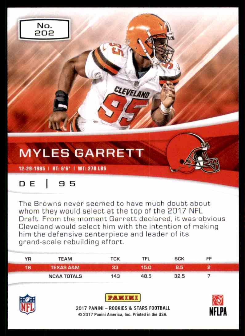 2017 Rookies And Stars Myles Garrett #202 card back image