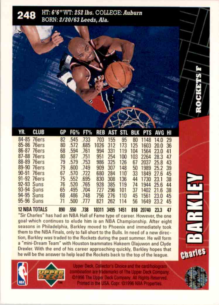 1996-97 Collector's Choice Charles Barkley #248 card back image