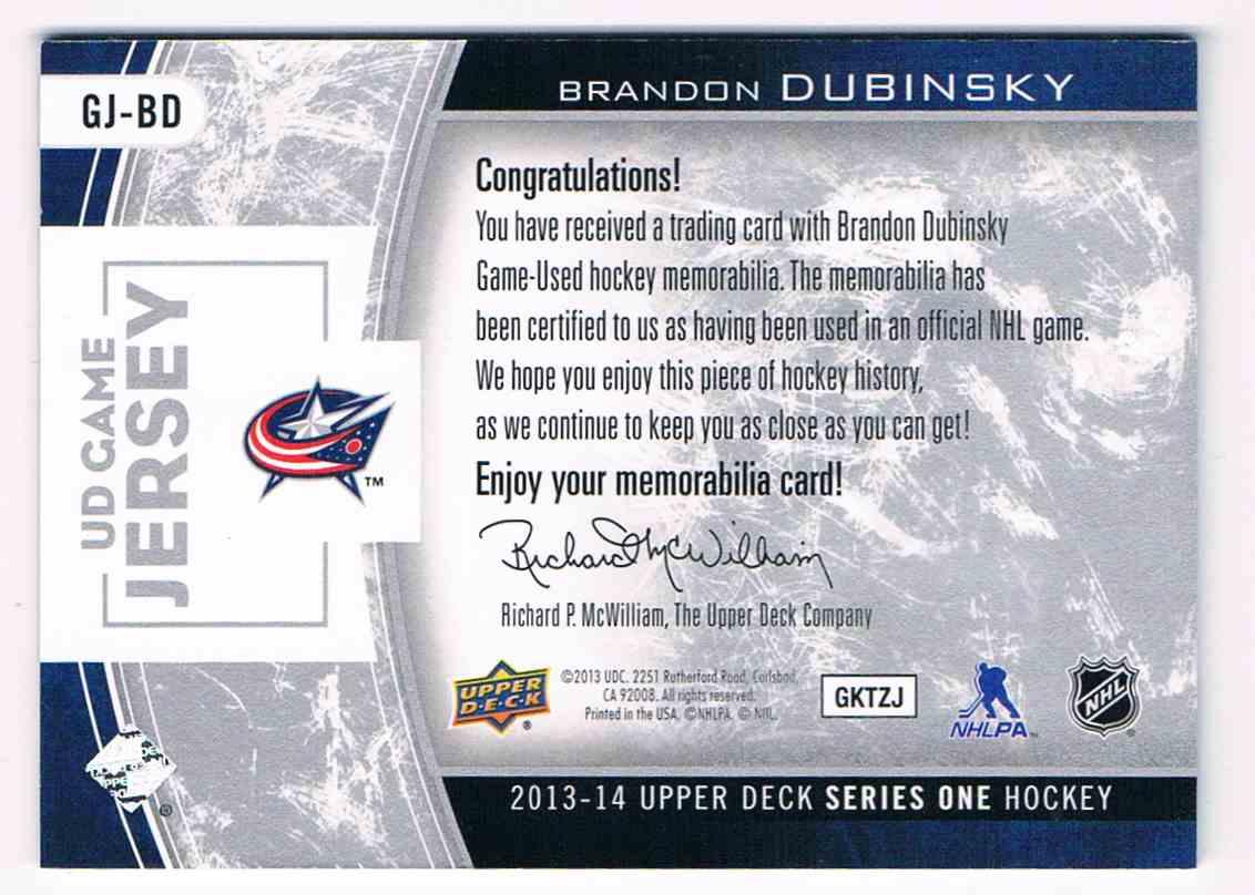 2013-14 Upper Deck UD Game Jersey Serie 1 Brandon Dubinsky #GJ-BD card back image