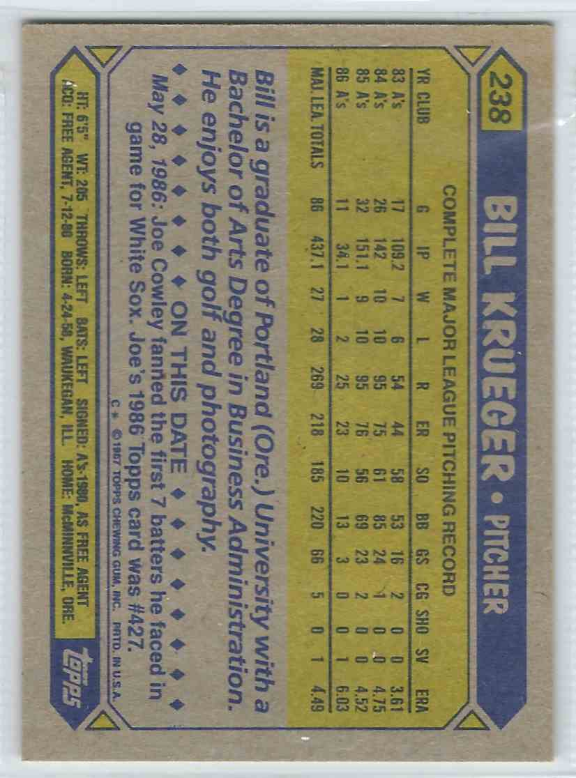1987 Topps Bill Krueger #238 card back image