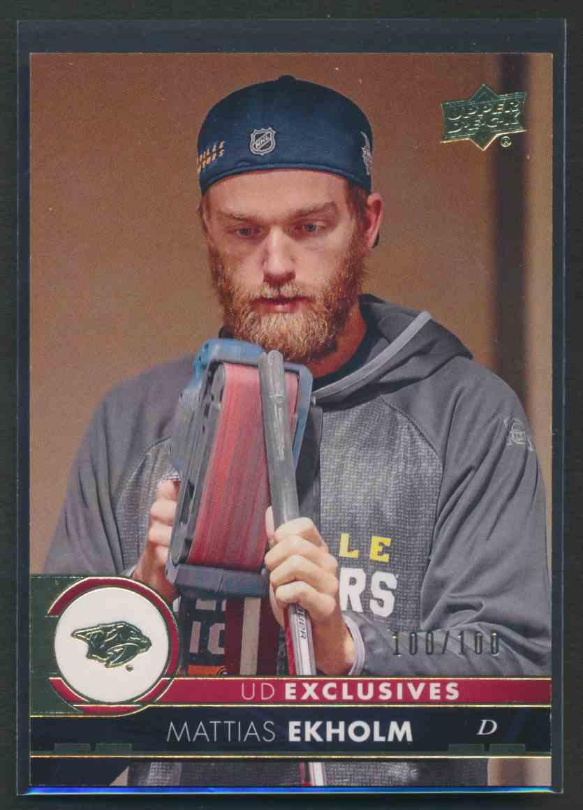 2017-18 Upper Deck Exclusive Mattias Ekholm #110 card front image