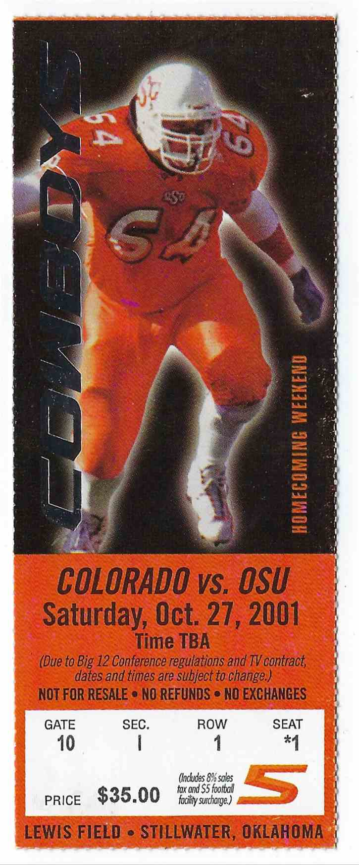 2001 College Football Ticket Stub Colorado Vs Oklahoma State card front image