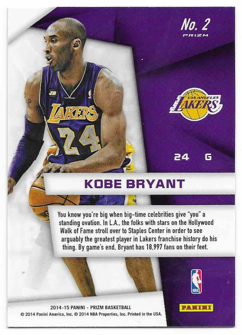 2014-15 Panini Prizm Superstars Kobe Bryant #2 card back image