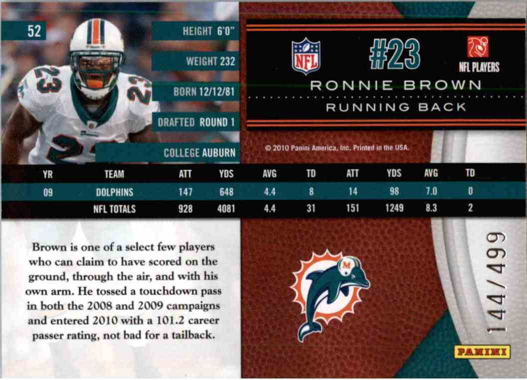 2010 Leaf Limited Ronnie Brown #52 card back image