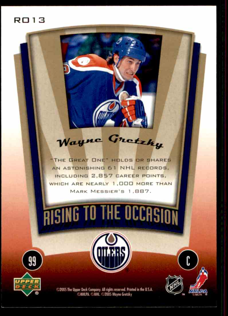 2005-06 Upper Deck MVP Rising To The Occasion Wayne Gretzky #RO13 card back image