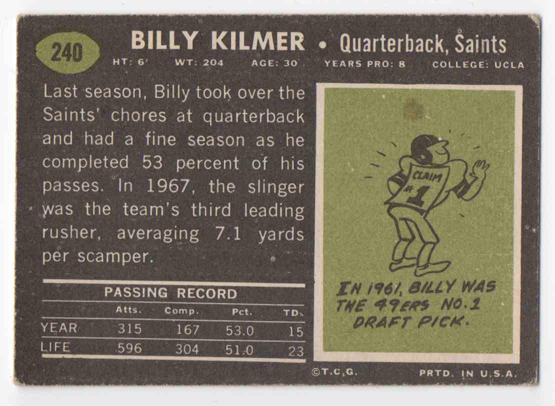 1969 Topps Billy Kilmer #240 card back image