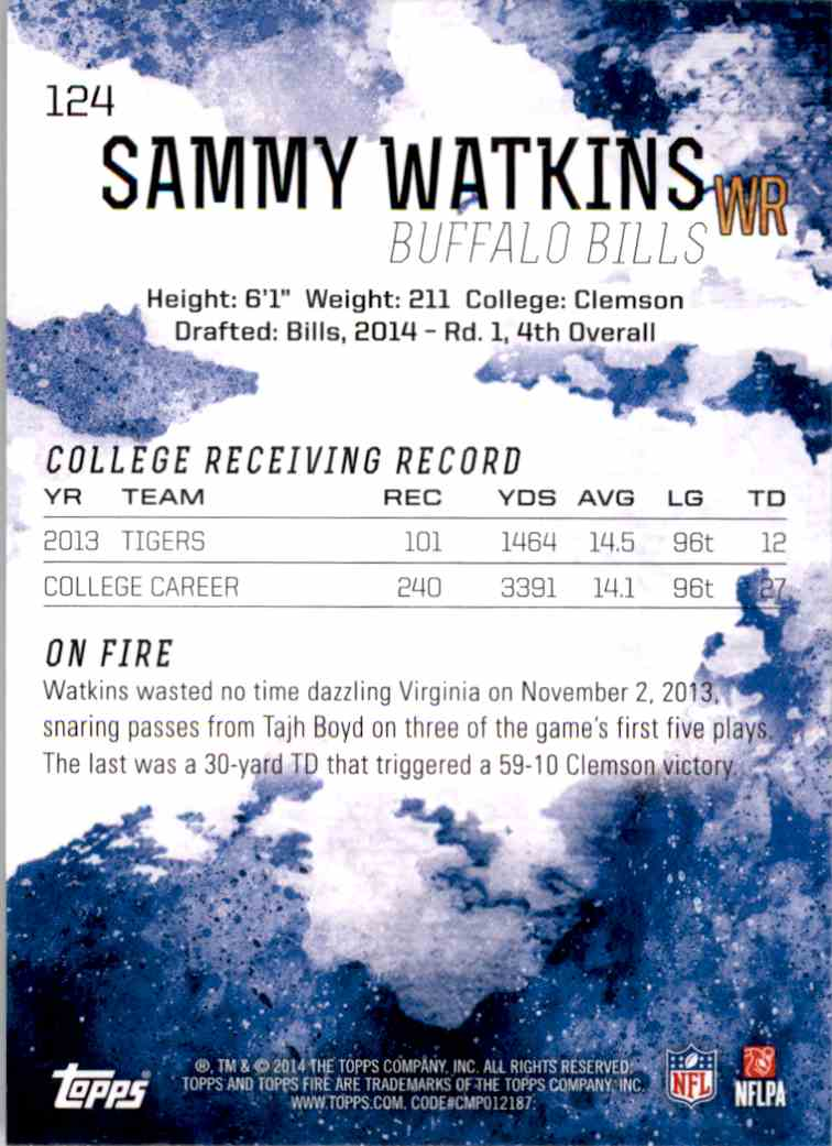 2014 Topps Fire Sammy Watkins RC #124 card back image