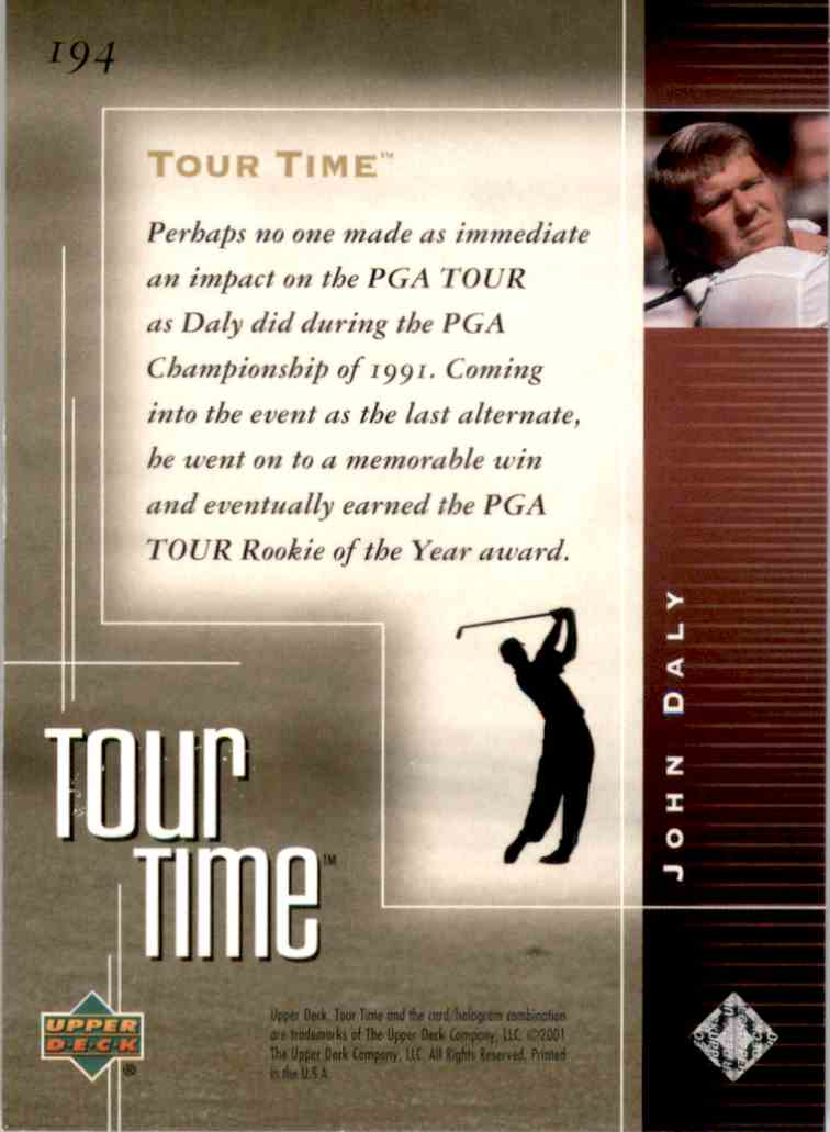 2001 Upper Deck John Daly Tt #194 card back image