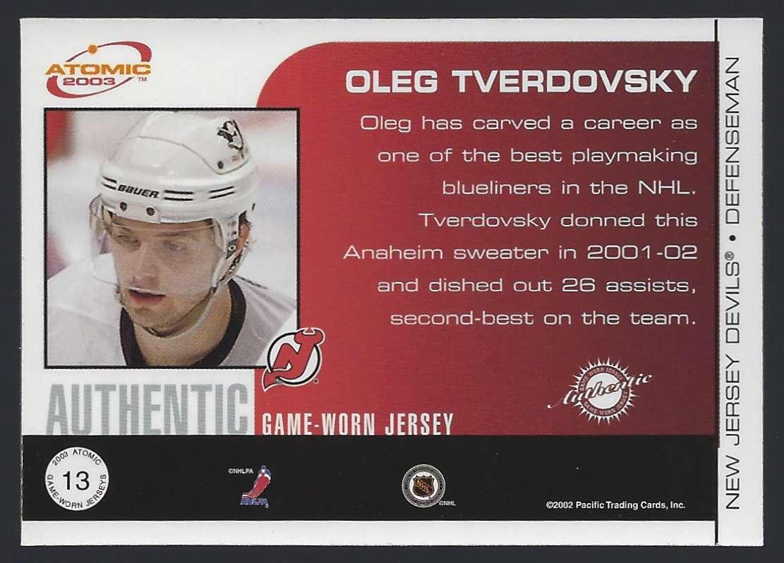2002-03 Atomic Jerseys Oleg Tverdovsky #13 card back image