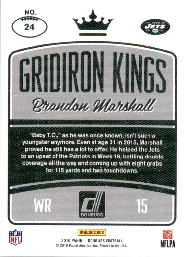 2016 Donruss Gridiron Kings Studio Series Brandon Marshall #24 card back image