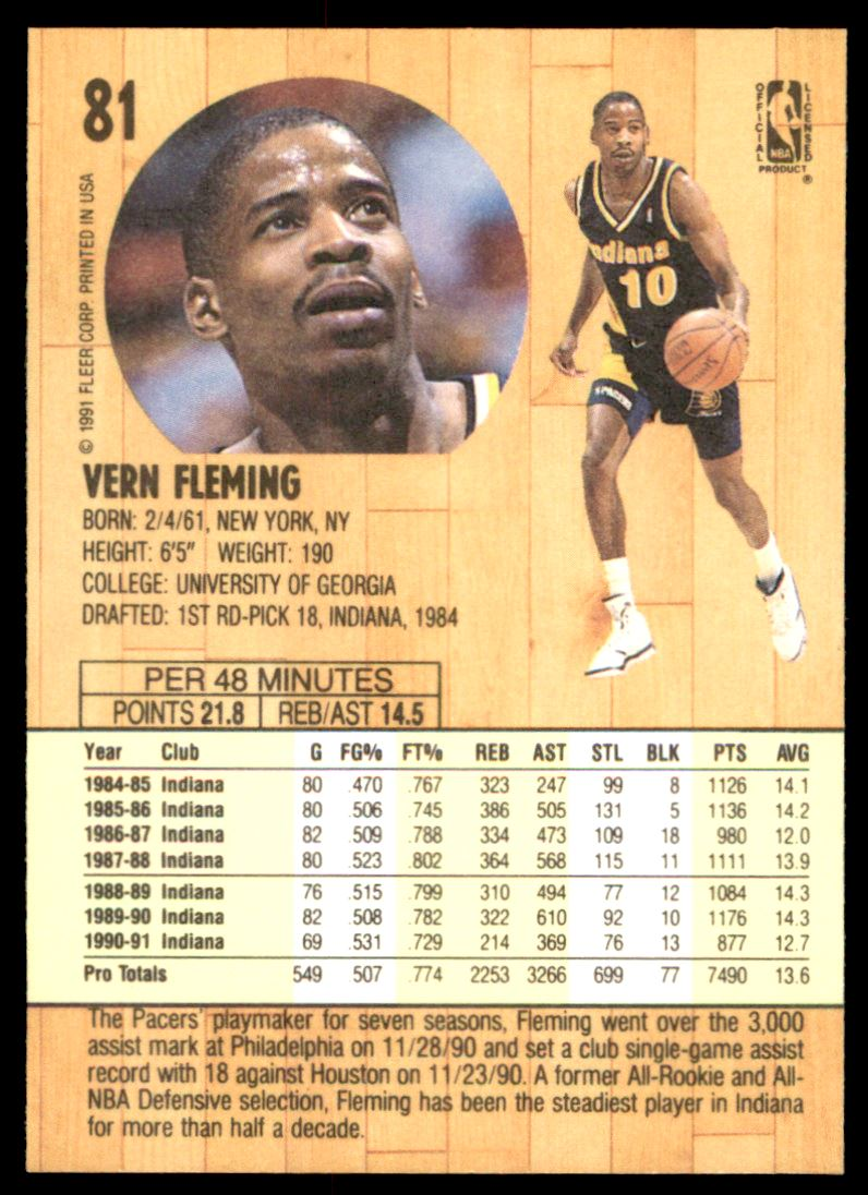 1991 92 Fleer Vern Fleming 81 on Kronozio
