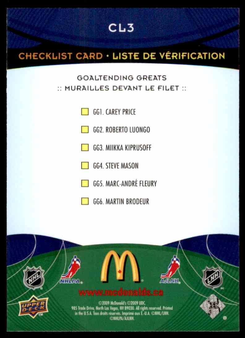 2009-10 Upper Deck McDonald's Jarome Iginla #CL2 card back image