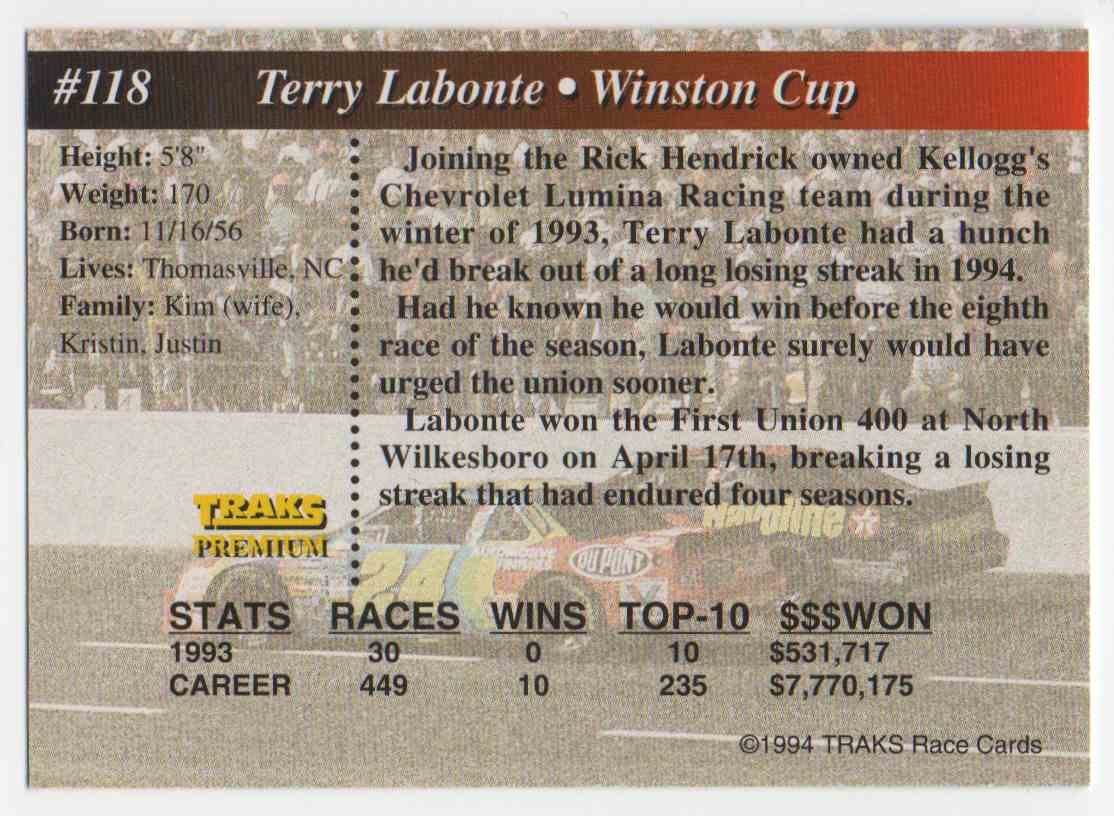 1994 Traks First Run Terry Labonte #118 card back image