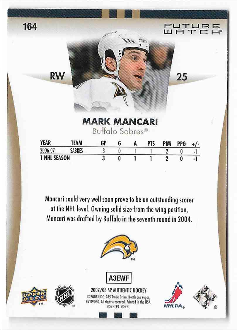 2007-08 SP Authentic Mark Mancari #164 card back image