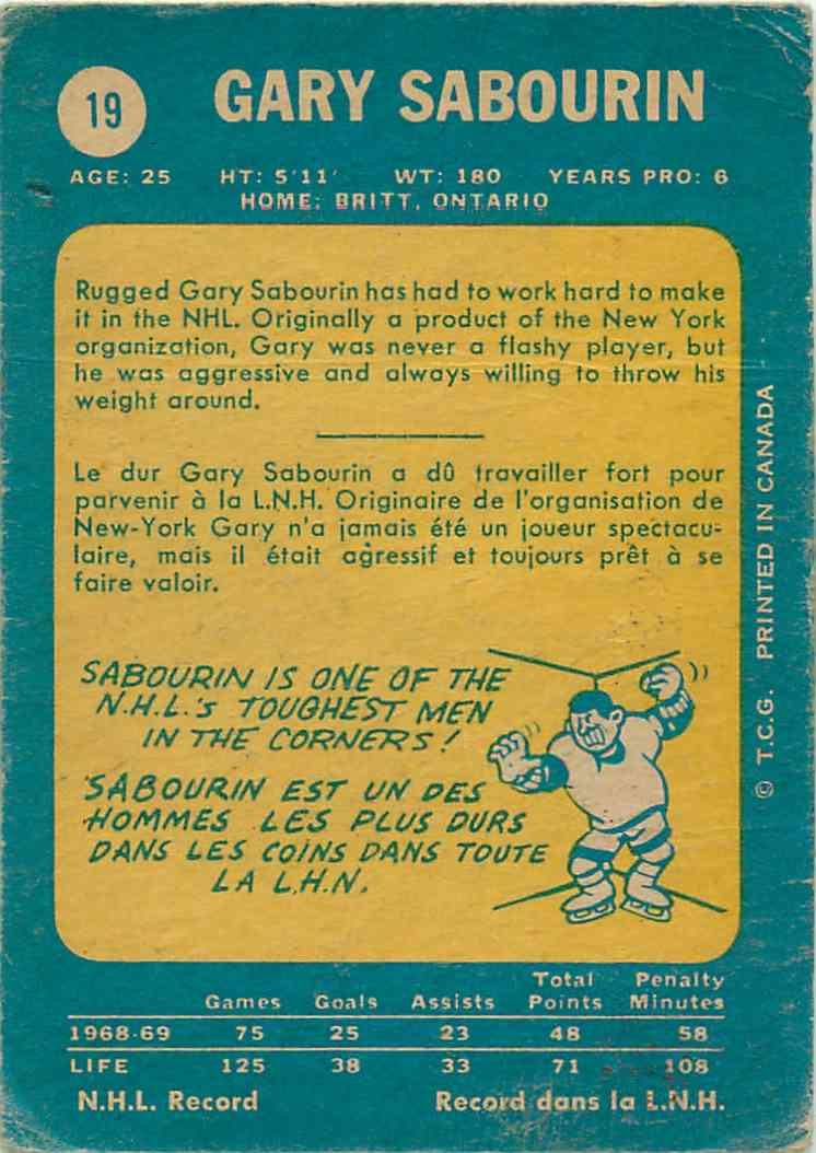 1969-70 Topps Gary Sabourin #19 card back image