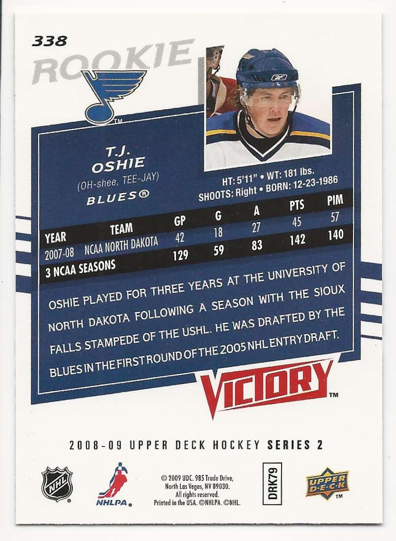 2008-09 Upper Deck Victory T.J. Oshie #338 card back image