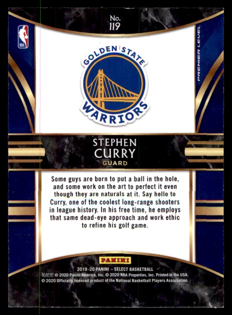 2019-20 Panini Select Stephen Curry #119 card back image