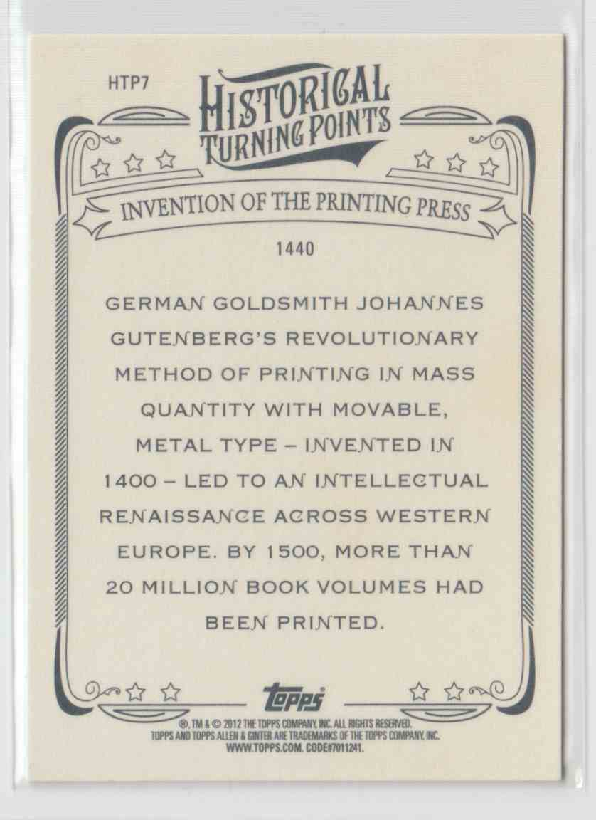 2012 Topps Allen & Ginter Historical Turning Points Invention Of The Printing Press #HTP7 card back image