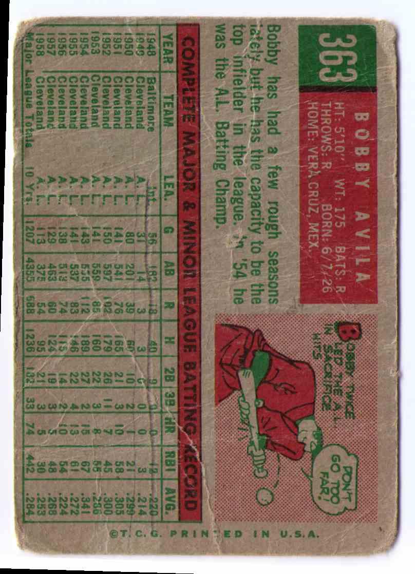 1959 Topps Baseball Card Bobby Avila #363 card back image