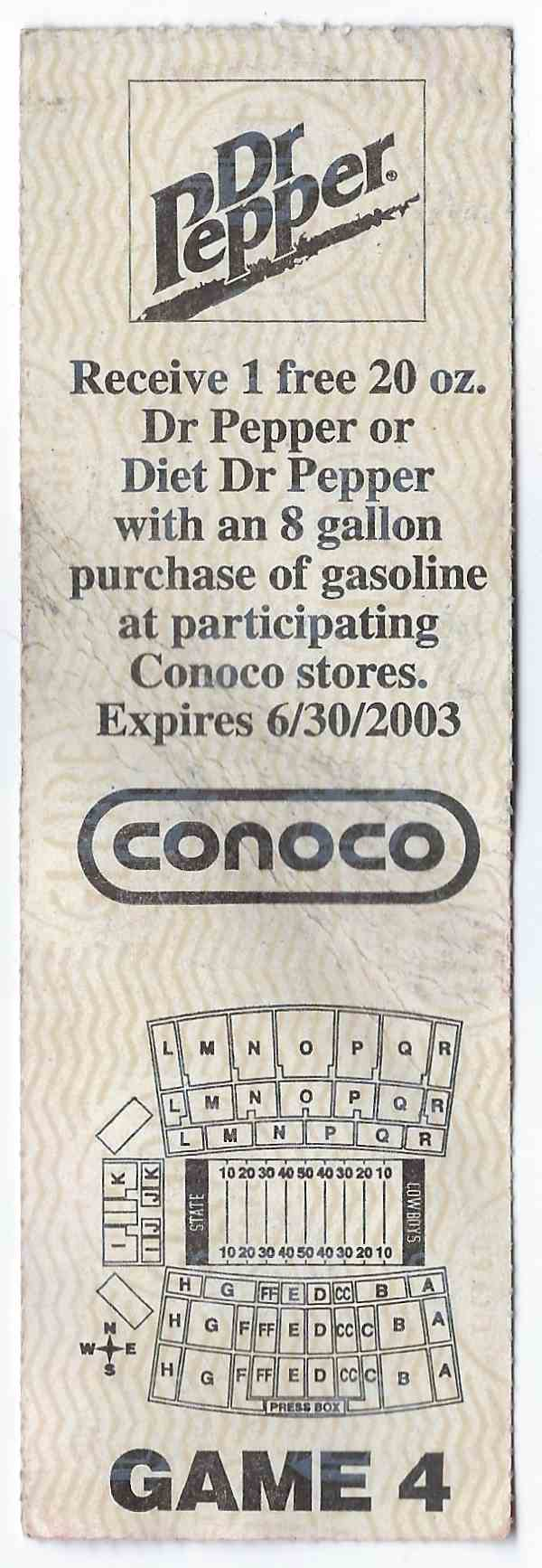 2002 College Football Ticket Stub Nebraska Vs Oklahoma State card back image