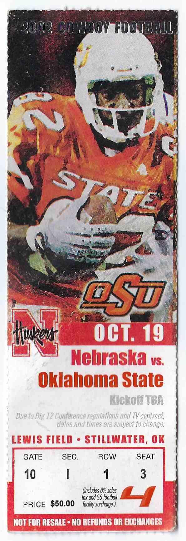 2002 College Football Ticket Stub Nebraska Vs Oklahoma State card front image