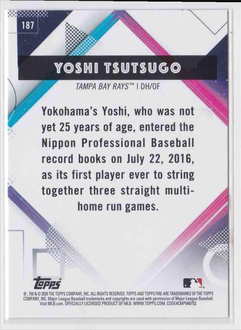 2020 Topps Fire Yoshi Tsutsugo #187 card back image