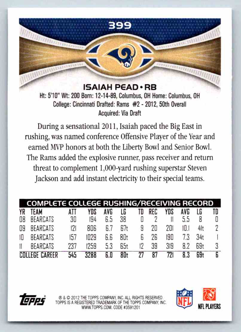 2012 Topps Isaiah Pead #399 card back image