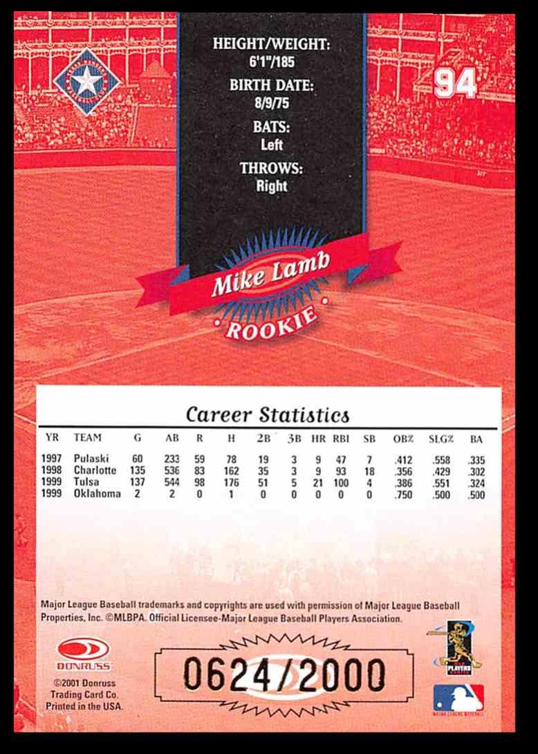 2001 Donruss 2000 Retro Mike Lamb SP #94 card back image