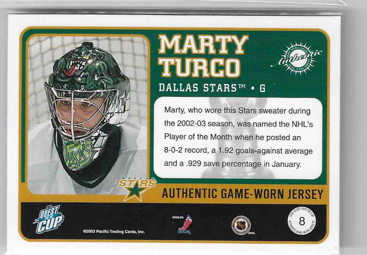 2002-03 Pacific Quest For The Cup Jerseys Marty Turco #8 card back image