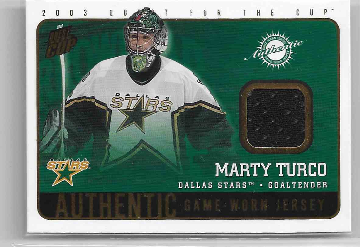 2002-03 Pacific Quest For The Cup Jerseys Marty Turco #8 card front image