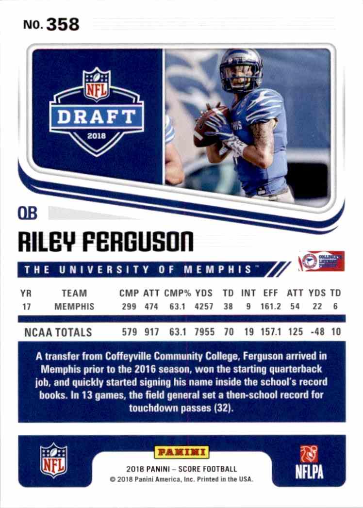 2018 Panini Score Riley Ferguson #358 card back image