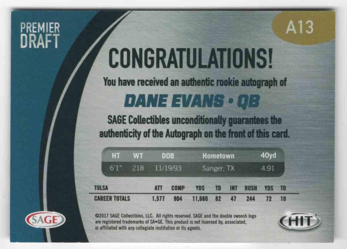 2017 Sage Hit Premier Draft Autographs Dane Evans #A13 card back image