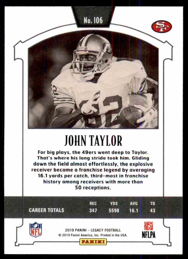 2019 Panini Legacy John Taylor #106 card back image