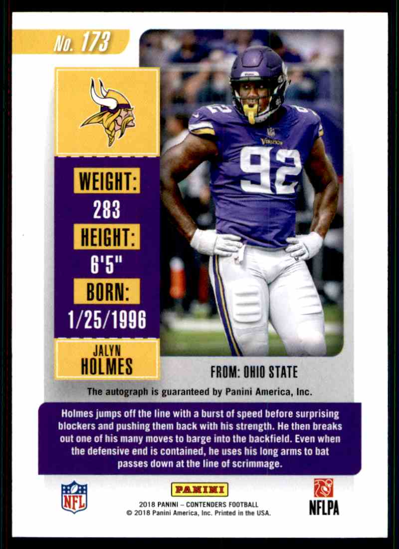 2018 Panini Contenders Rookie Ticket Jalyn Holmes #173 card back image