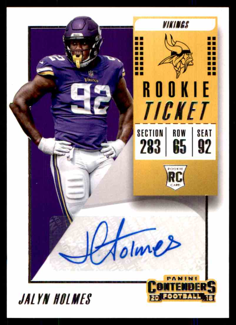 2018 Panini Contenders Rookie Ticket Jalyn Holmes #173 card front image