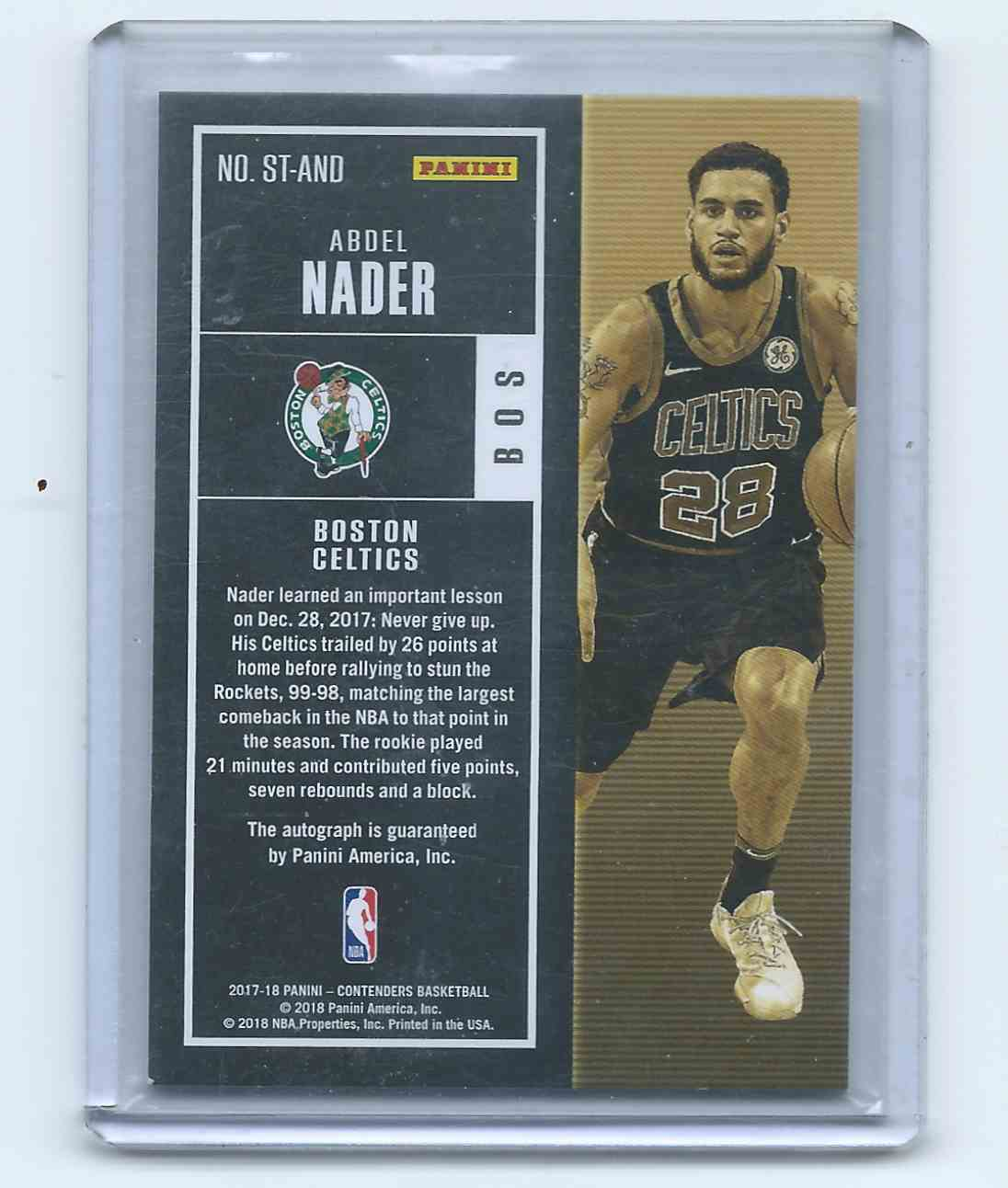 2017-18 Panini Contenders Retail Rookie Ticket Autographs Abdel Nader #ST-AND card back image