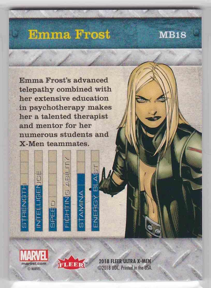2018 Fleer Ultra X-Men Metal Blasters Emma Frost #MB18 card back image