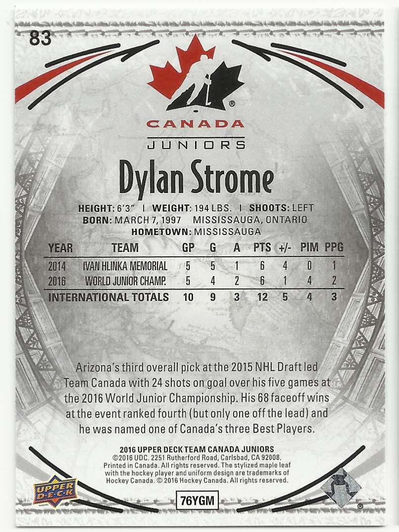 2016-17 Upper Deck Team Canada Juniors Dylan Strome #83 card back image