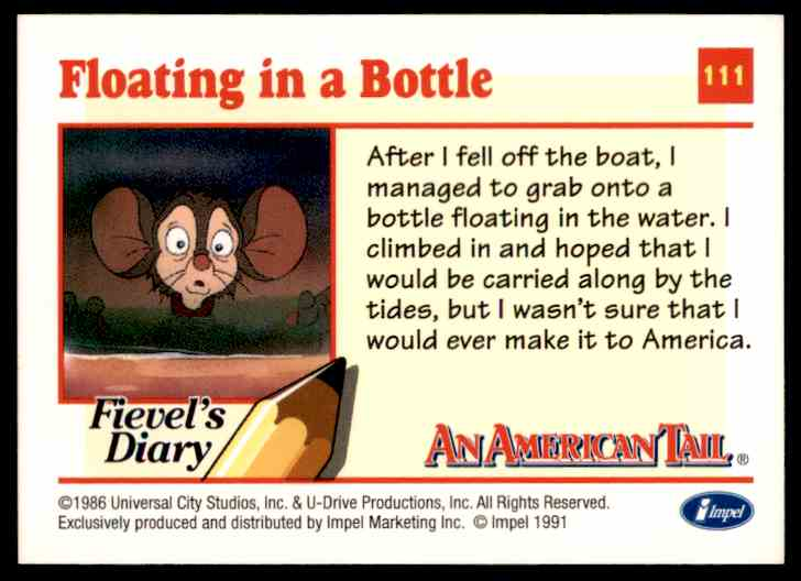 1991 An American Tail Floating In A Bottle #111 card back image