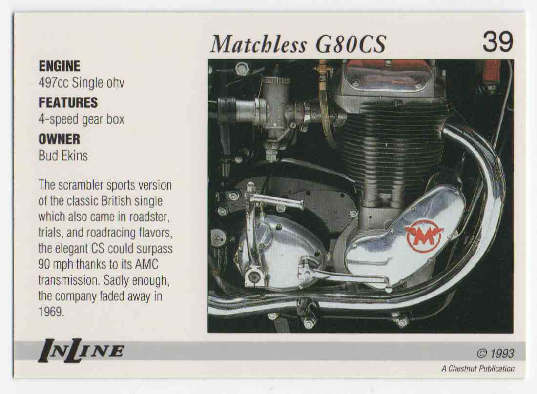1993 InLine 1960 Matchless #39 card back image
