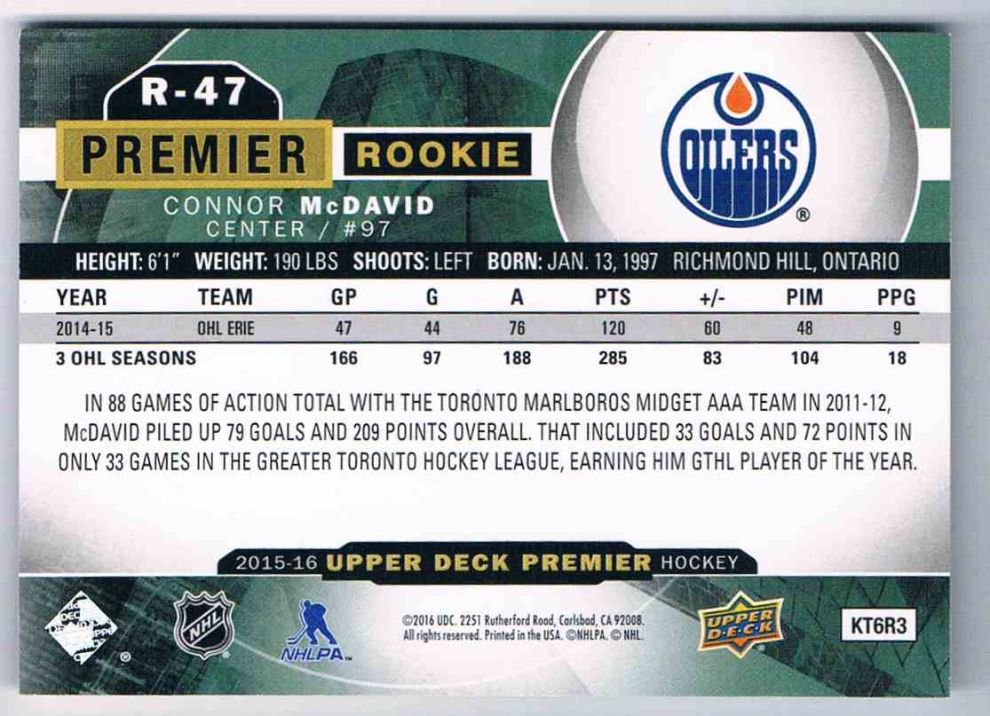 2015-16 Upper Deck Premier Rookie Connor McDavid #R-47 card back image