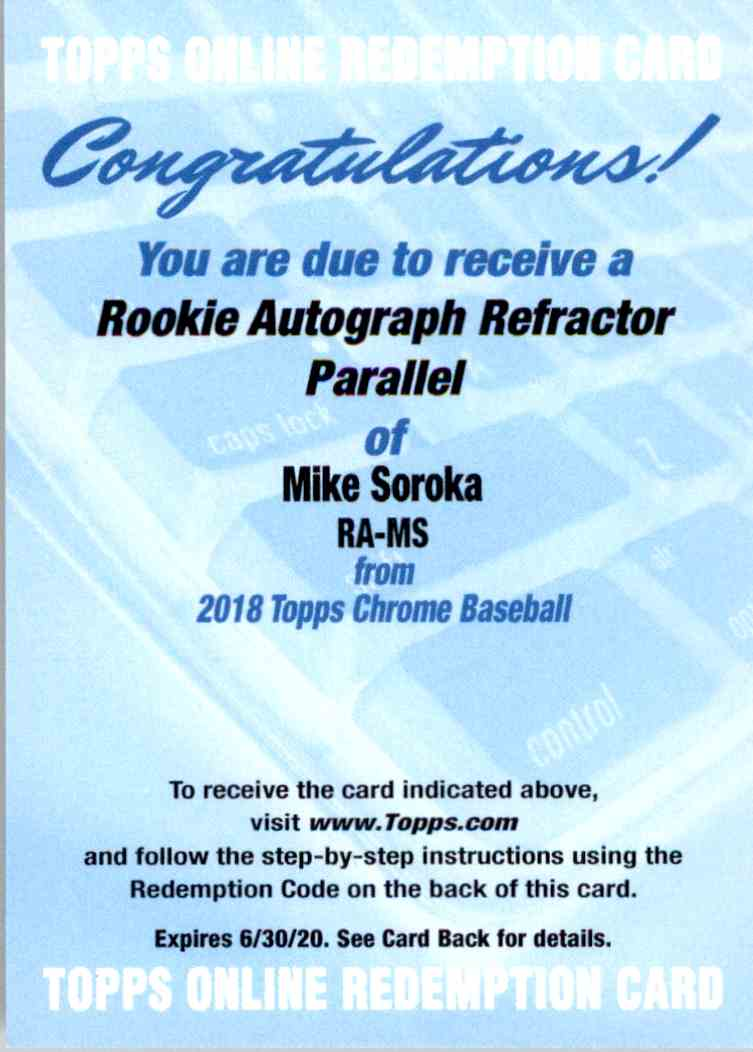 2018 Topps Chrome Rookie Autograph Refractor Parallel Redemption Mike Soroka #RA-MS card front image