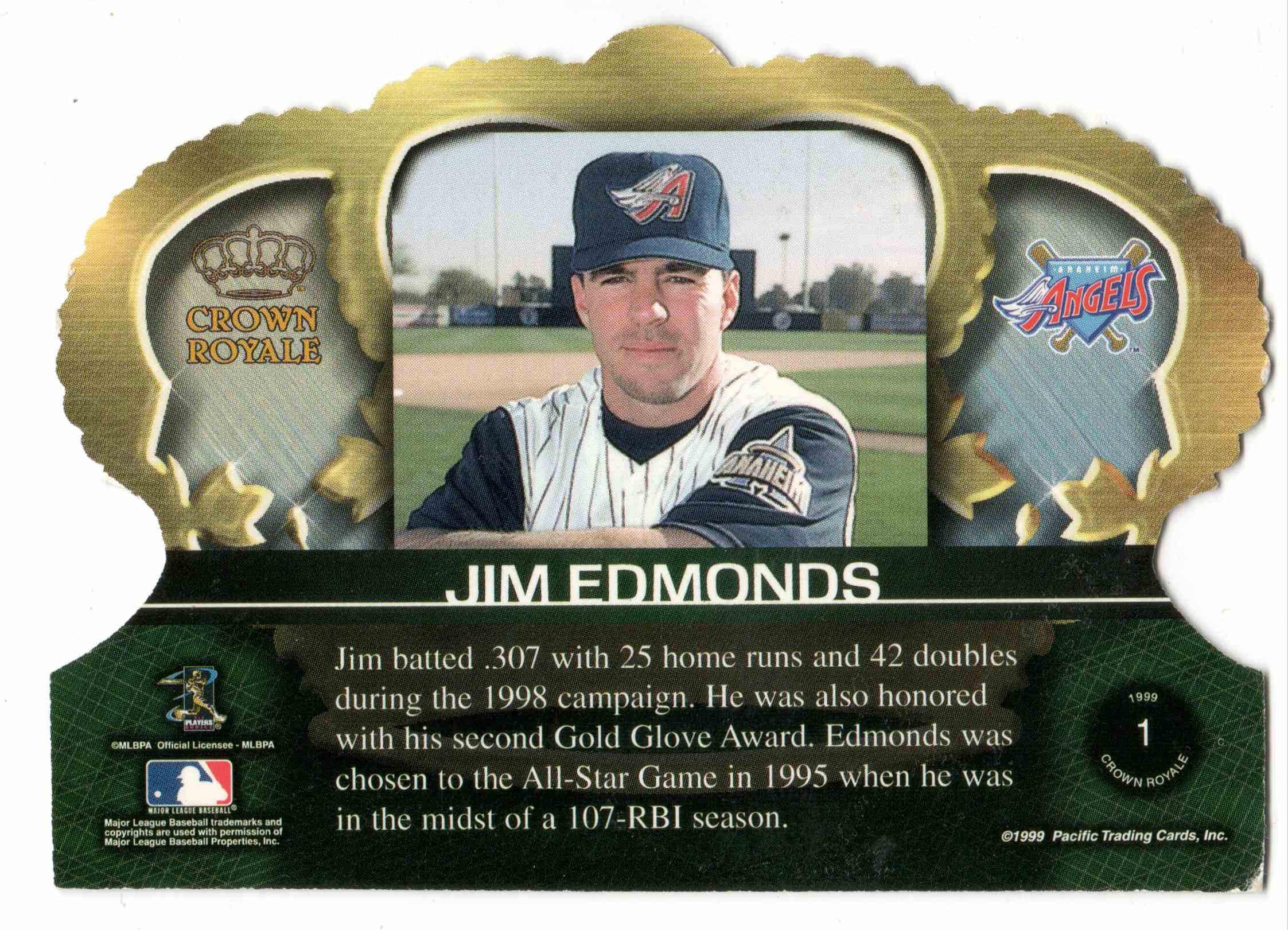 1999 Pacific Crown Royale Jim Edmonds #1 card back image